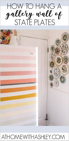 How to Hang State Souvenir Plates. Do you like collecting decorative tourist plates? I share how to hang decorative plates on the wall in a cute display. Plus some history on these kitchy treasures Hanging Plates, Plates On Wall, Budget Home Decorating, Decorating Ideas, Laundry Room Wallpaper, Ottoman Decor, Plate Hangers, Cozy Room, E Design