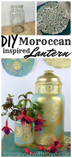 DIY Moroccan Inspired Lantern using Unicorn Spit and paper doilies! Cheap way to brighten your decor Morrocan Decor, Moroccan Lanterns, Moroccan Furniture, Moroccan Bedroom, Moroccan Interiors, Moroccan Tiles, Diy Craft Projects, Diy Crafts, Moroccan Party