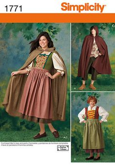 Simplicity 1771 Sewing Pattern Cape Dress Costume Unisex Misses & Mens Adults Size A XS - XL