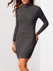 Black Turtleneck Long Sleeve Bodycon Sweater Dress