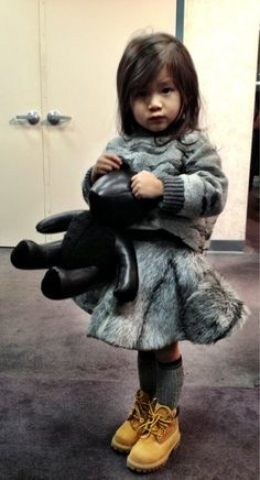 Faux fur skirt and timberlands #estella #designer #kids #fashion