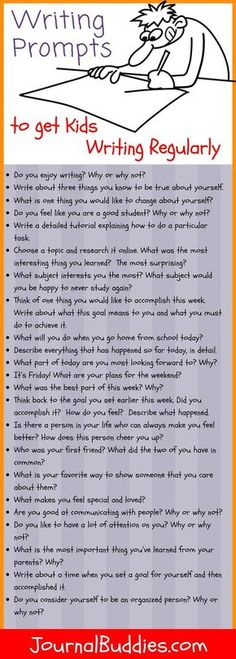 Writer's Prompts to Get Kids Writing Regularly! It's an English teacher's worst-kept secret: the more kids write, the better they get at writing. To help you get your students writing regularly, we've created a special month-long series of writing prompts Writing Lessons, Kids Writing, Teaching Writing, Writing Activities, Writing Skills, Math Lessons, Teaching Themes, Writing Prompts For Kids, Creative Writing