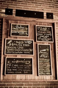 Perfect chalkboard menus found on Design Sponge