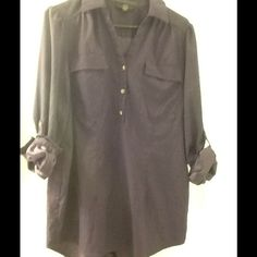 Alfani deep purple silky blouse Very classy deep purple blouse 96% polyester, 4% spandex. Roll up sleeves. Great for work or night out. Alfani Tops Blouses