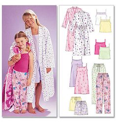 Children's/Girls' Robe, Belt, Tops, Gown, Shorts and Pants