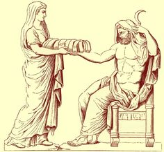 Rhea, Cronus' wife and Poseidon's mom, gives Cronus a bundle of rocks to eat instead of Poseidon's new born brother, Zeus. The new baby is then held in a cave and tended to by Amalthea, a goat who fed Zeus ambrosia from her horns. Saturn Mythology, Zeus Children, Greek Titans, Spanish Armada, Tartarus, Classical Mythology, Father Time, Black And White Illustration, Gods And Goddesses