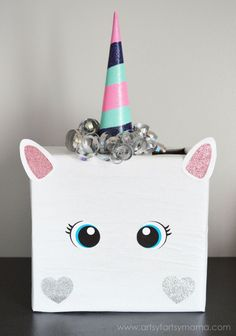 Unicorn Valentine Card Box at http://artsyfartsymama.com #plaidcrafts #modpodge #applebarrel
