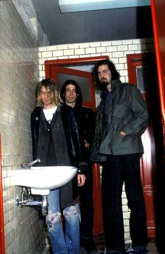 Nirvana backstage in Ghent, Belgium, 1991.