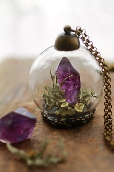 Miniature terrarium necklace raw Amethyst by RubyRobinBoutique