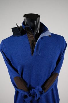 Zip mock neck sweater in cashmere blends with contrasting patches.