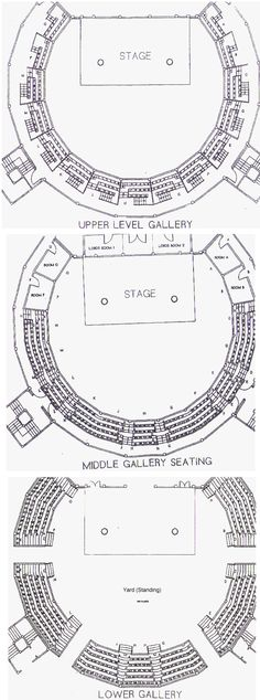 Shakespeare's Globe seating plan. The theatre has just under 900 seats and space for 700 people to stand in the 'pit.' (LW17-1)