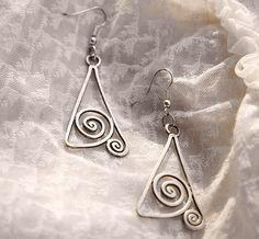 Handmade earrings Art Deco Art Nouveau silver wire by offpeter