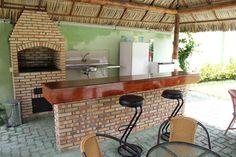 churrasqueira8 Built In Braai, Pergola, Outdoor Structures, Architecture, Building, Interior, Table, Furniture, Home Decor