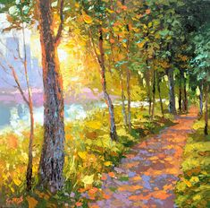 Evening alley  Oil Painting on Canvas by Dmitry by spirosart