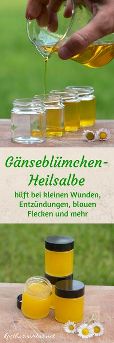 Aus einfachen Zutaten ist die heilende Gänseblümchensalbe ganz schnell hergest… From simple ingredients, the healing daisy ointment is made quickly and saves you from buying expensive wound and healing ointments. Homemade Beauty, Diy Beauty, Homemade Cosmetics, Belleza Natural, Natural Cosmetics, Natural Medicine, Natural Health, Health And Beauty, Natural Remedies