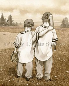Baseball Boys archival watercolor print by by TracyLizotteStudios