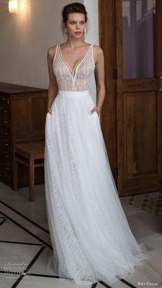 riki dalal bridal 2016 sleeveless v neck strap beaded bodice a line wedding dress (1809) mv romantic