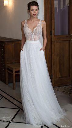 riki dalal bridal 2016 sleeveless v neck strap beaded bodice a line wedding dress (1809) mv romantic