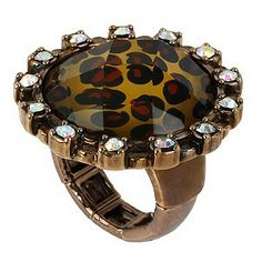 Betsey Johnson Leopard Print Stone Set Ring