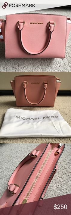 """NWT Michael Kors Selma Medium Pale Pink Satchel Authentic NWT Michael Kors Pale Pink Selma in the medium size. Original stuffing / wrapping included. Dust bag included. No smoke damage / weird smells.  Zipper works smoothly. 100% Cow Leather with gold-tone hardware. Top handle: 4.5""""; adjustable strap: 17.5-19.5"""". Interior: one inside zip pocket, two open inside pockets. Measures 13 X 8 X 4"""". Item ships immediately! Michael Kors Bags Satchels"""