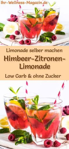 Himbeer-Zitronen-Limonade selber machen: Low-Carb-Rezept für selbstgemachte Lim… Raspberry & Lemonade Make Yourself: Low Carb Recipe For Homemade Lemonade Without Sugar – Healthy, Low In Calories, Fast And Easy … free it Yourself # Summer drink Flavored Lemonade, Homemade Lemonade Recipes, Vodka Lemonade, Peach Lemonade, Detox Recipes, Summer Recipes, Smoothie Recipes, Smoothies, Salad Recipes