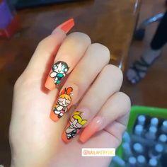Powerpuff Girls - М - Disney Acrylic Nails, Best Acrylic Nails, Nail Swag, Aycrlic Nails, Manicure, Circus Nails, Classic Nails, Fire Nails, Heart Nails