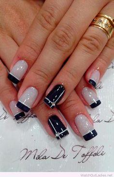 Black and white glitter nail art