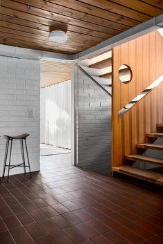Wood Railing, Wood Stairs, Marimekko, Room Colors, Brick Wall, Eames, Flooring, Interior, House
