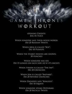 Any Game of Thrones fans out there? Try this fun workout game for #WorkoutWednesday