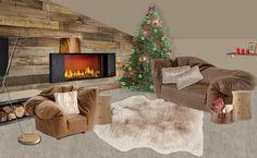 Interior Ideas by Eva Chi_Christmas Living Room Mood Board_ caminetto/fireplace: MCZ Group; divano e poltrona/sofa and armchair: Edra; tavolini/tables: Poliform; lampada da terra/floor lamp: Slamp; cuscini,tappeto e coperte/pillows, carpet and blankets: Maisons du Monde; decorazioni varie/various decorations: IKEA