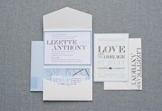 Vintage Pocket Wedding Invitation Suite - Blue and White - Custom Colors - Lizette and Anthony on Etsy, £3.99