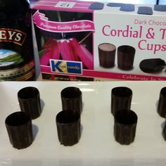 Chocolate Cordial & Toasting Cups from Kane Candy. Perfect filled with Irish Cream, liqueurs, Port or Dessert Wines.  www.KaneCandy.com