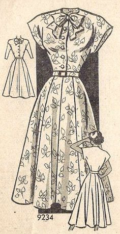 1940s Misses Shirtwaist Dress Vintage Sewing Pattern