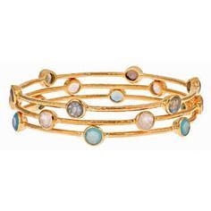 24K gold plate Milano 6-stone bangle, featuring aqua chalcedony, moonstone, and labradorite gemstones. From JulieVos.com.