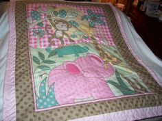 Your place to buy and sell all things handmade Baby Girl Quilts, Girls Quilts, Baby Applique, Toddler Quilt, Money Makers, Safari Animals, Cotton Quilts, Quilting Ideas, Machine Quilting
