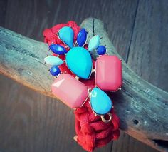 Jeweled Coral Turquoise Blue and Red by FindingLifeDesigns on Etsy