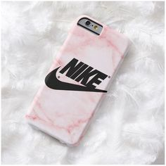 Pink marble NIKE Phone Case Iphone 7 7 PLUS 5 Iphone 6 Plus Case... (20 CAD) ❤ liked on Polyvore featuring accessories and tech accessories