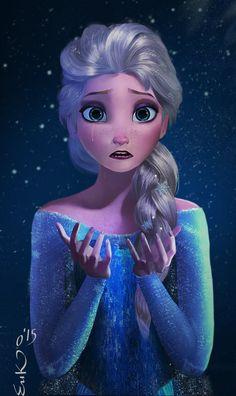 A tearful Queen Elsa questions everything she's ever known (from Deviant Art) Frozen Art, Frozen Elsa And Anna, Frozen Wallpaper, Disney Wallpaper, Film Disney, Disney Fan Art, Disney And Dreamworks, Disney Pixar, Studio Ghibli Films