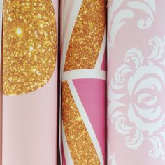 Gold, Pink and White wallpaper designs by BC Magic Wallpaper #wallpaper #nurserywallpaper #kidswallpaper #selfadhesivewallpaper #removablewallpaper