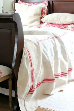 grain sack bedspread toile shams