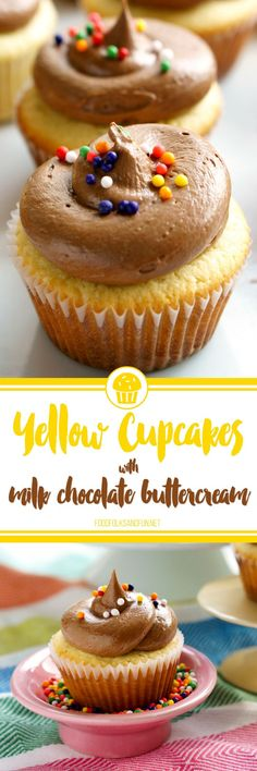 These Yellow Cupcakes with Milk Chocolate Buttercream are just the dessert for any type of celebration: birthdays the first day of school awards promotions or simply just because! The yellow cake is rich and tender and the buttercream tastes just lik Yellow Cupcakes, Yummy Cupcakes, Pretty Cupcakes, Vanilla Cupcakes, Great Desserts, Delicious Desserts, Yummy Food, Individual Desserts, Cupcake Recipes