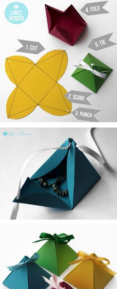 DI Y Paper Pyramid Gift Boxes Cute Idea For Favors