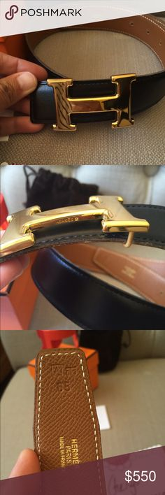 Hermes Belt Authentic Reversible black/brown with gold buckle. No dust bag or box. Will fit 24-26 waist Hermes Accessories Belts