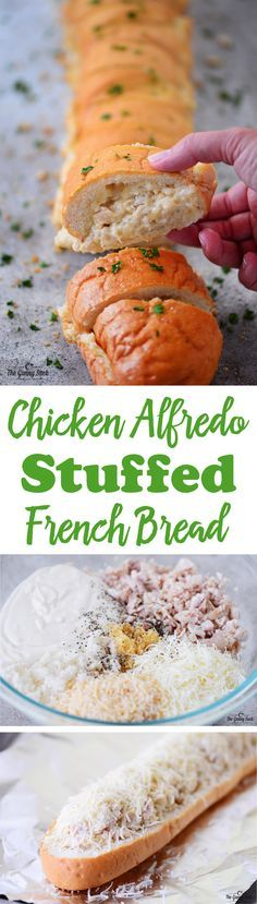 From a family dinner to a potluck or game day this chicken alfredo stuffed french bread will make everyone happy! (I've worked with @ReynoldsKitchens on this recipe.)