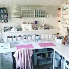 44 best art room decor ideas - artmyideas craft shed, ikea craft room Craft Room Storage, Sewing Room Organization, Craft Desk, Organization Ideas, Diy Desk, Ikea Craft Room, Storage Ideas, Organization For Craft Room, Organized Craft Rooms
