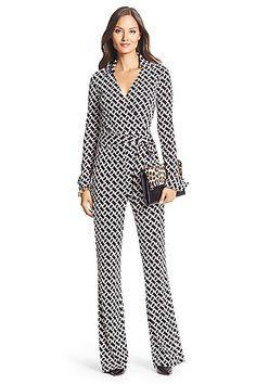DVF Silk Jersey Wrap Jumpsuit in in Chainlink Black/ White