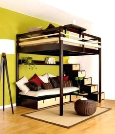 Bedroom Kids Bunk Beds For Small Rooms Ikea Loft Bed Living Room Bedroom Design Ideas Hardwood Floors Loft Bed Ideas For Small Rooms Storage Space For Small Bedrooms Boys Bedroom Ideas With Bunk Beds Awesome Storage Space for Small Bedrooms Modern Bedroom Loft Bed With Couch, Bunk Bed With Desk, Bunk Beds With Stairs, Bed Stairs, Cool Loft Beds, Modern Bunk Beds, Modern Bedroom, Modern Loft, Modern Stairs