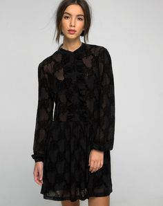 Rock the goth glam look! This flocked lace babydoll has just the right amount of…