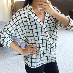 Sale✨ Ark & Co. Grid top Do not buy this listing ⚠️ Comment with your size, I'll make one for you.                                                 Best in retail host pick!                                                       On trend print, I get tons of compliments! Wrap front, relaxed fit, drop shoulders. Longer length in the back, long sleeves have a rolled tab. Pocket at right side of chest. High quality, 100% polyester. Runs true to size. No trades. No holds. No offers. Price is firm…