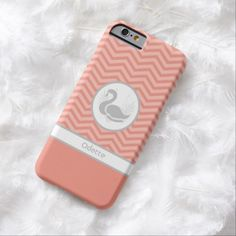 A preppy slim #iPhone6case with a trendy orange coral and white chevron pattern decorated with a gray swan with bird wings against a white circle background. Personalize this modern peach and grey zigzag design by adding your name.